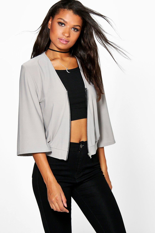 Kimono Sleeve Zip Up Bomber silver