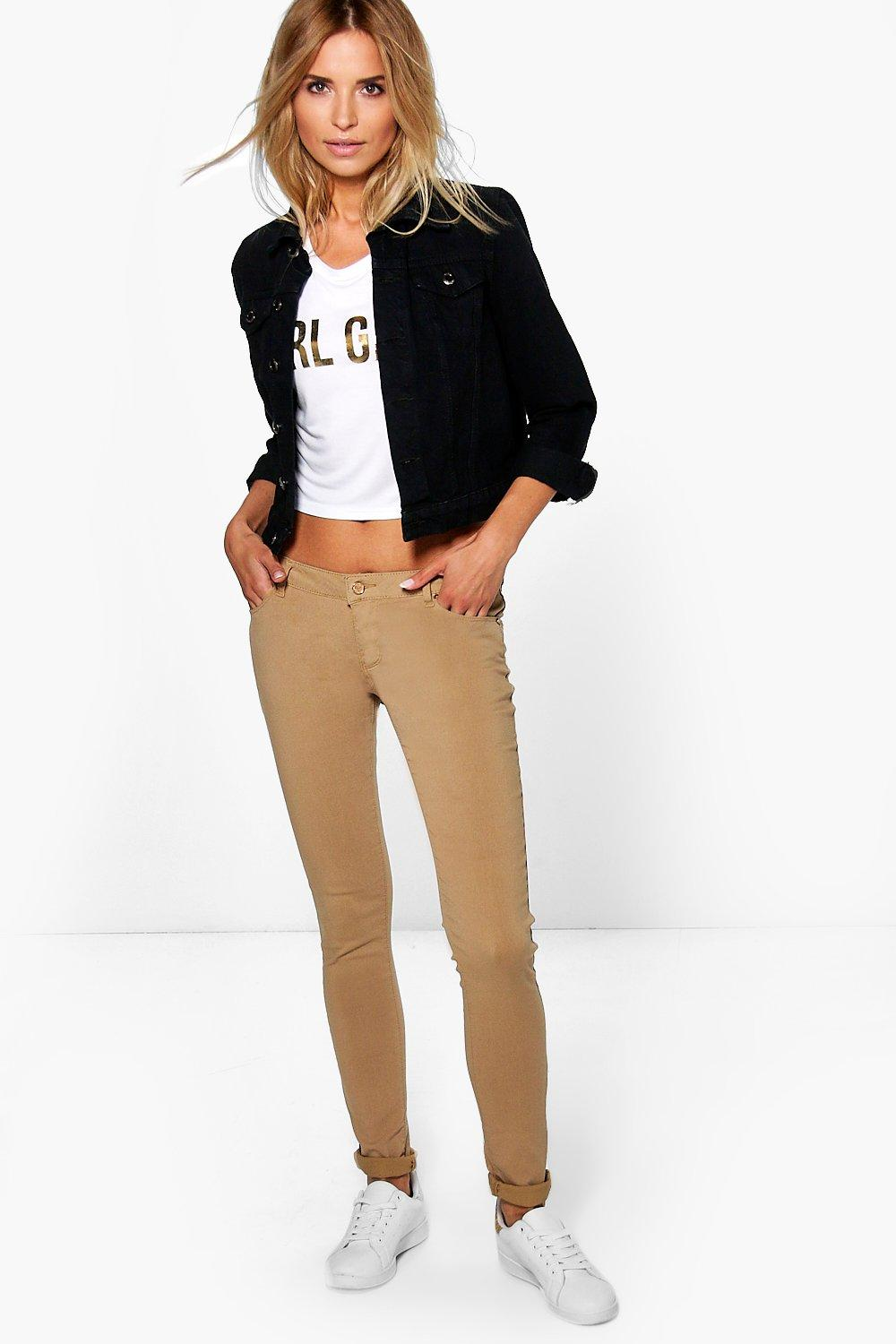 Mid Rise Skinny Jeans sand