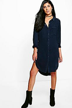 Amy Dark Navy Lace Up Shoulder Denim Shirt Dress
