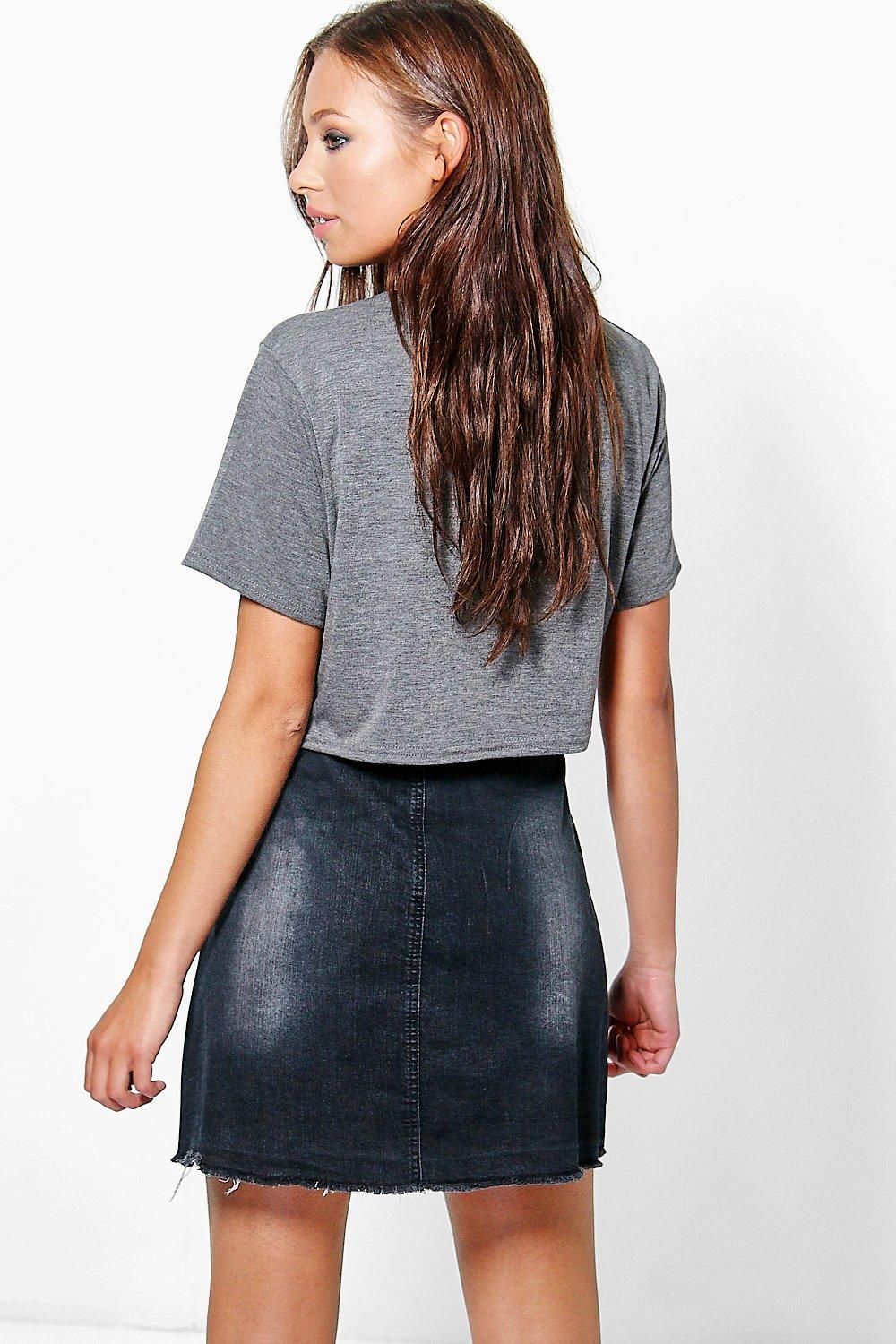 boohoo womens ada button through black denim skirt