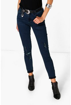 Mary High Rise Destroyed Knee Skinny Jeans