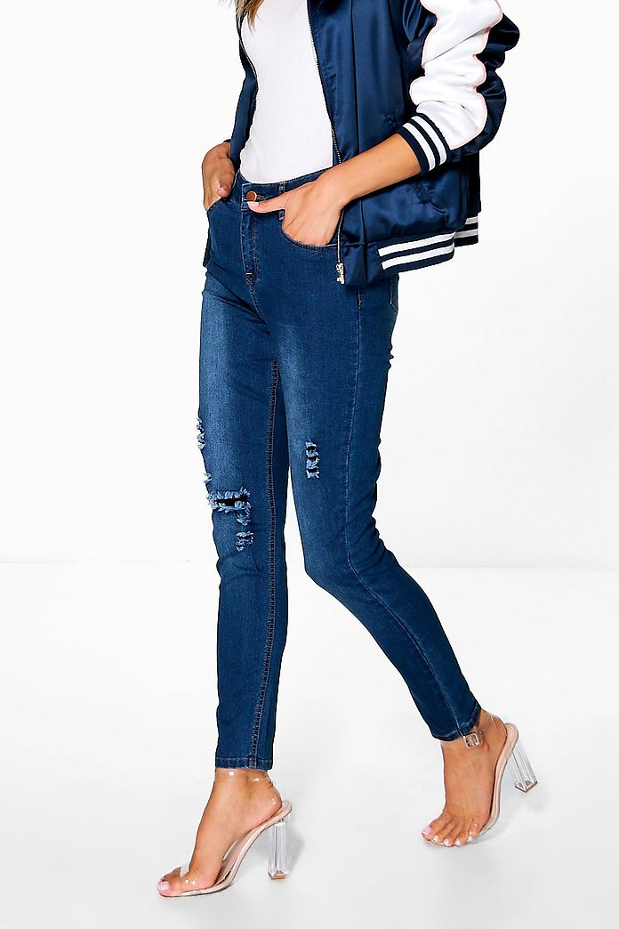 Mary Mid Rise Destroyed Knee Skinny Jeans