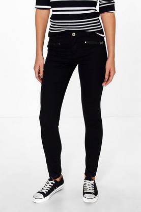 Mia Zip Detail Skinny Black Jeans