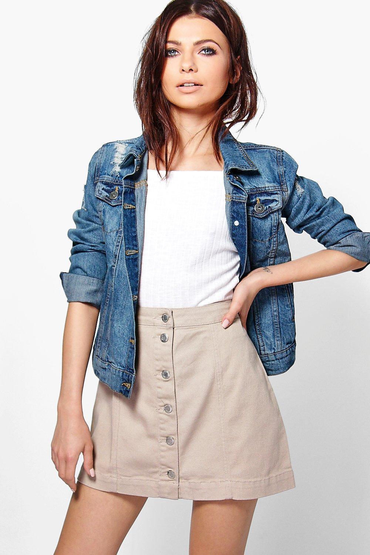 Jess Stone Button Through A Line Denim Skirt   Boohoo