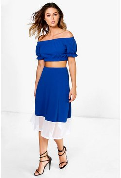 Millie Off The Shoulder Full Midi Skirt Co-ord