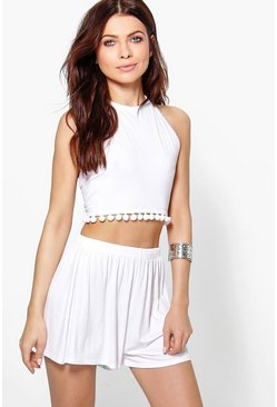 Lucy Pom Pom Halter Crop and Short Co-ord Set