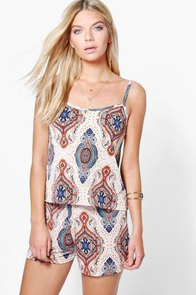 Mia Paisley Print Swing Cami and Short Co-ord Set