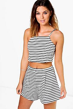 Beci Striped Crop Top + Short Co-ord Set