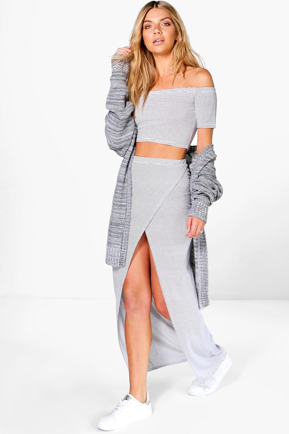Maisy Stripe Off The Shoulder Crop + Maxi Co-ord