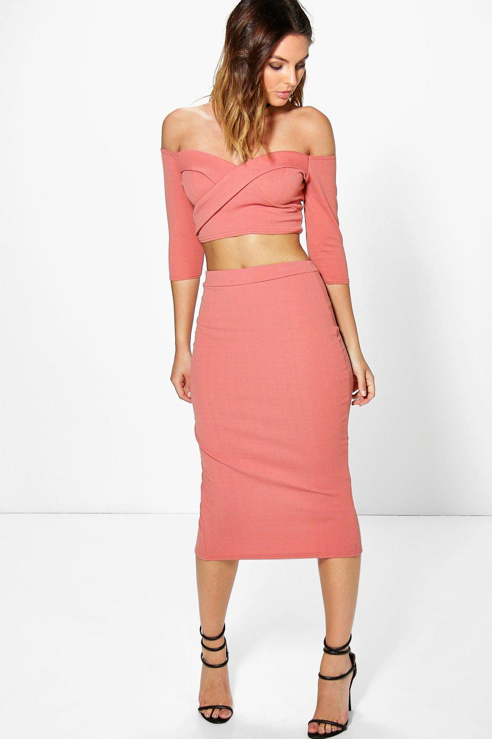 Ina Off The Shoulder Crop & Midi Skirt Co-ord