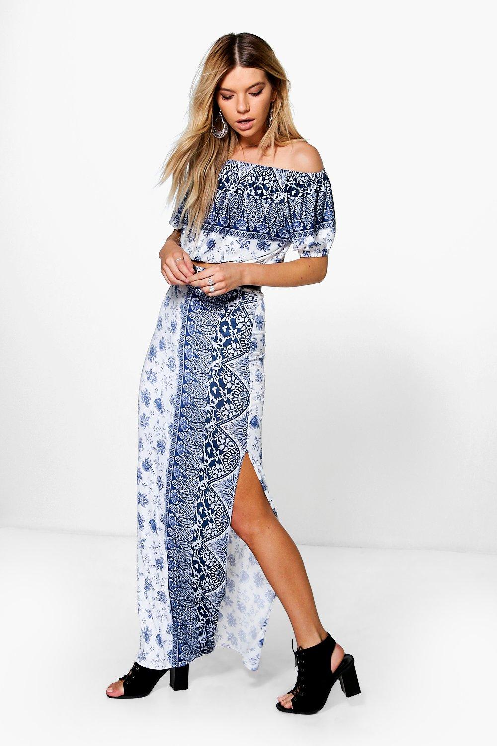 Mia Paisley Off The Shoulder & Maxi Skirt Co-Ord
