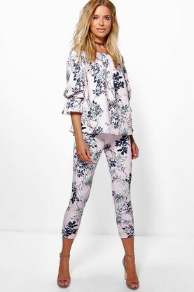 Bella Floral Off The Shoulder Top & Skinny Trouser Co-ord