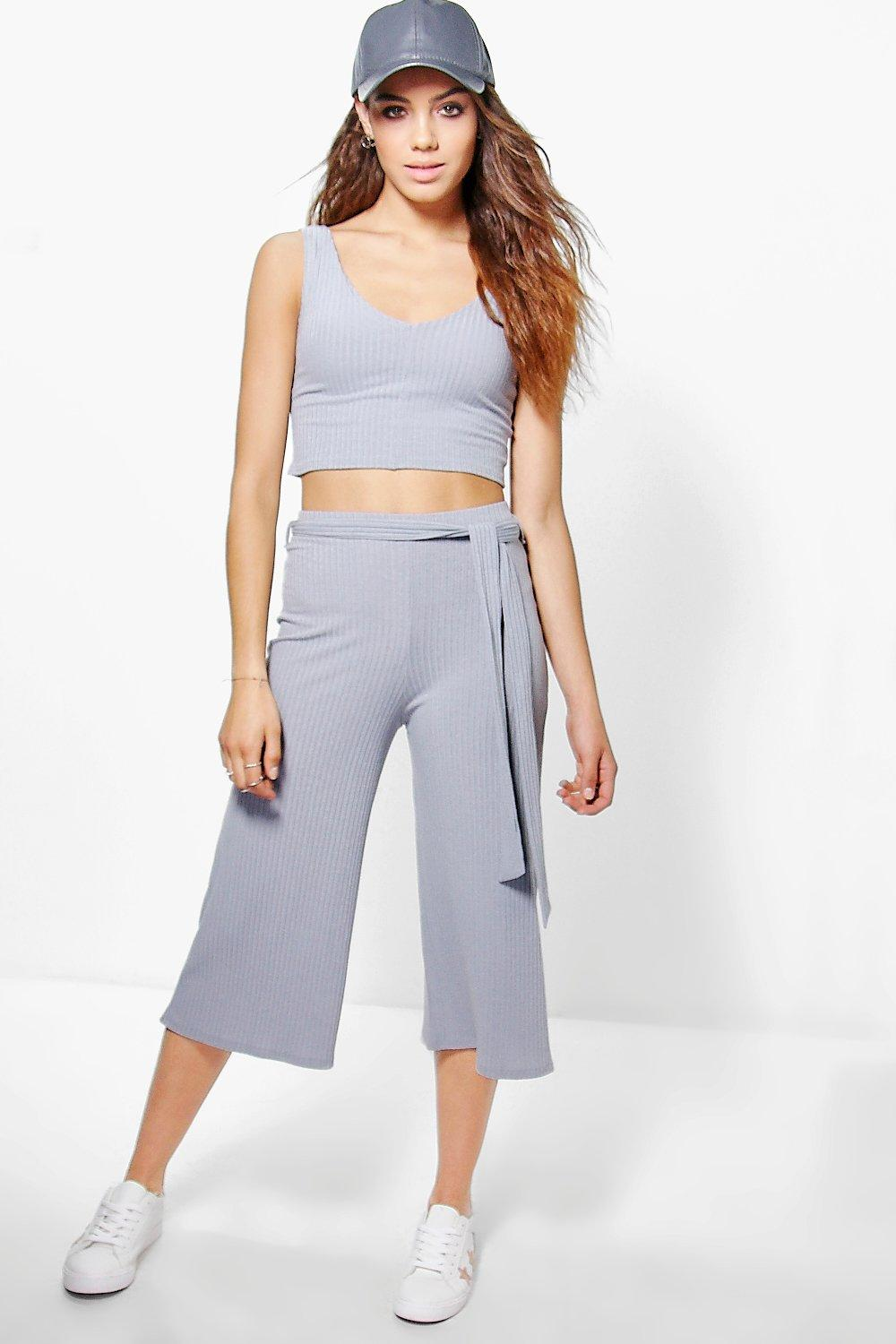 Ava Rib Crop Top And Culotte Co-ord Set