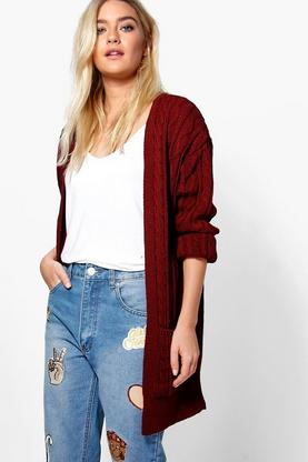 Mia Cable Edge To Edge Cardigan With Pockets