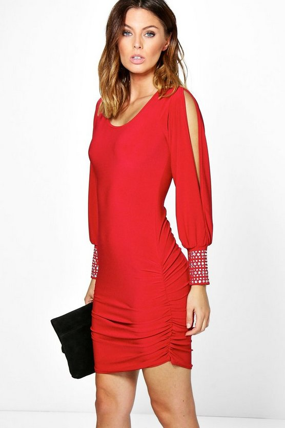 Brenda Diamante Cuff Split Sleeve Dress