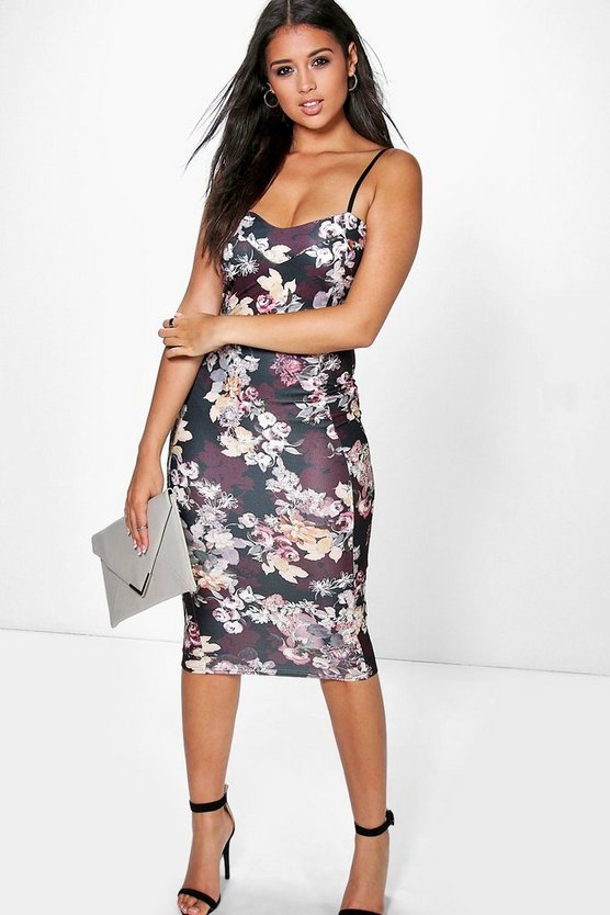 Oana Floral Print Strappy Midi Bodycon Dress