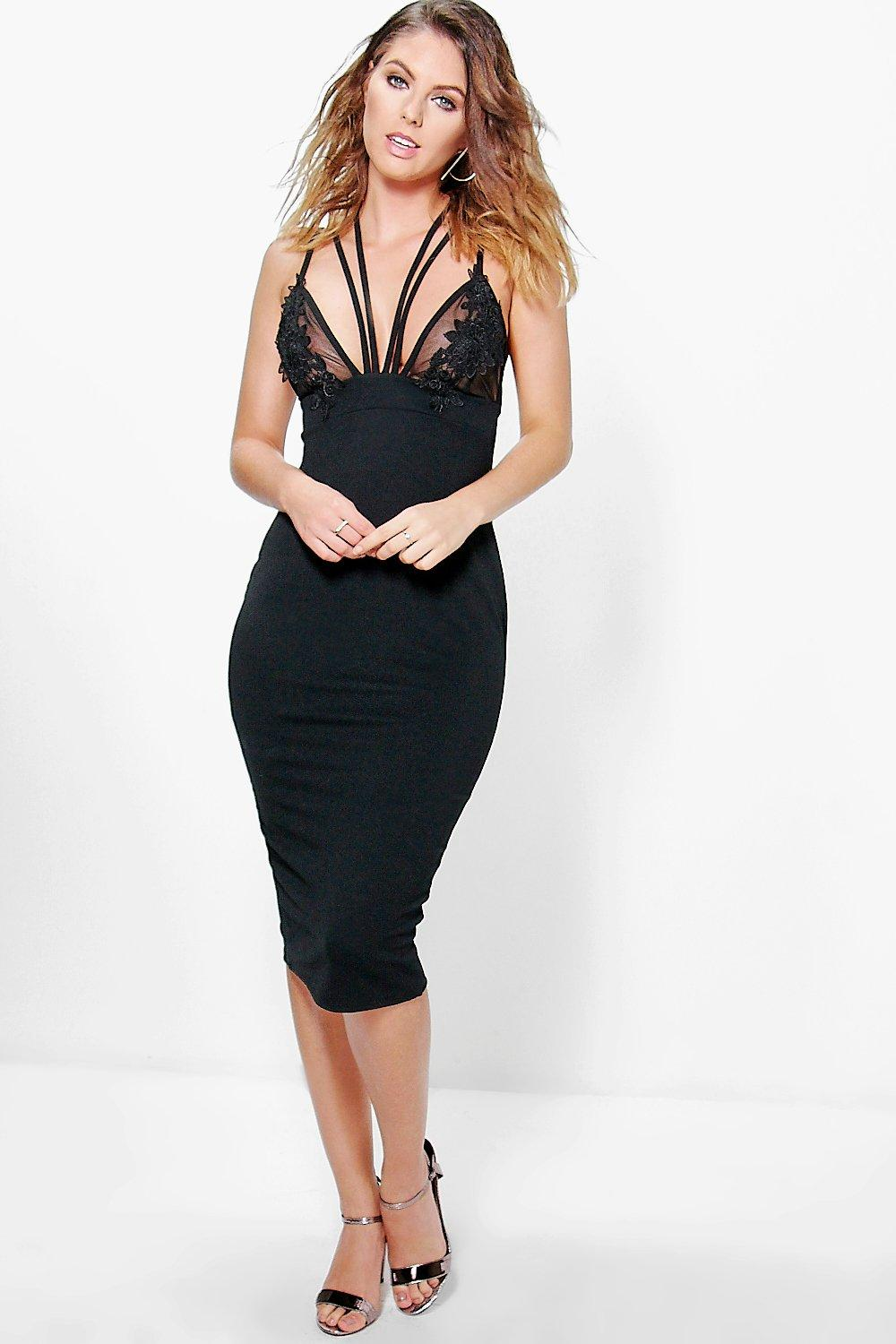 Aiyla Mesh Applique Strappy Midi Dress