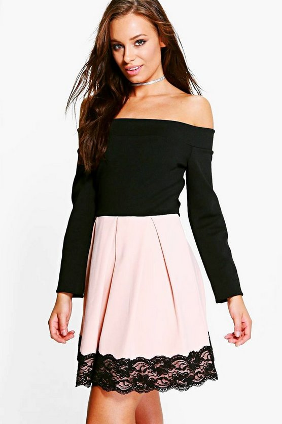 Keira Contrast Off Shoulder Skater Dress
