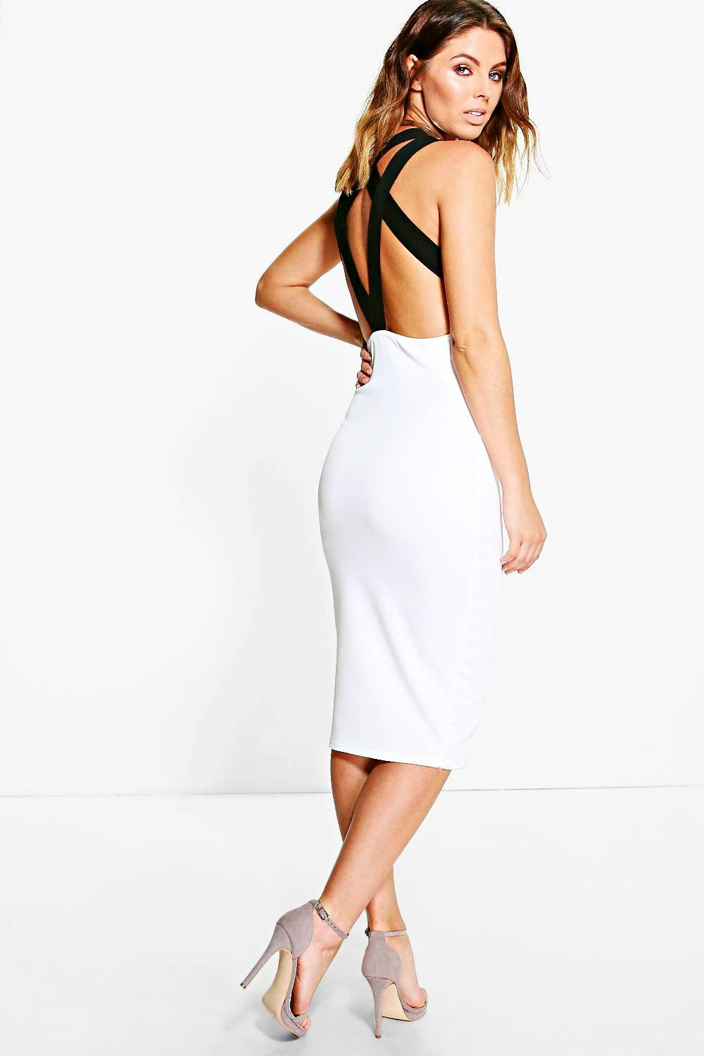 Dolly Cross Strap Back Plunge Midi Dress