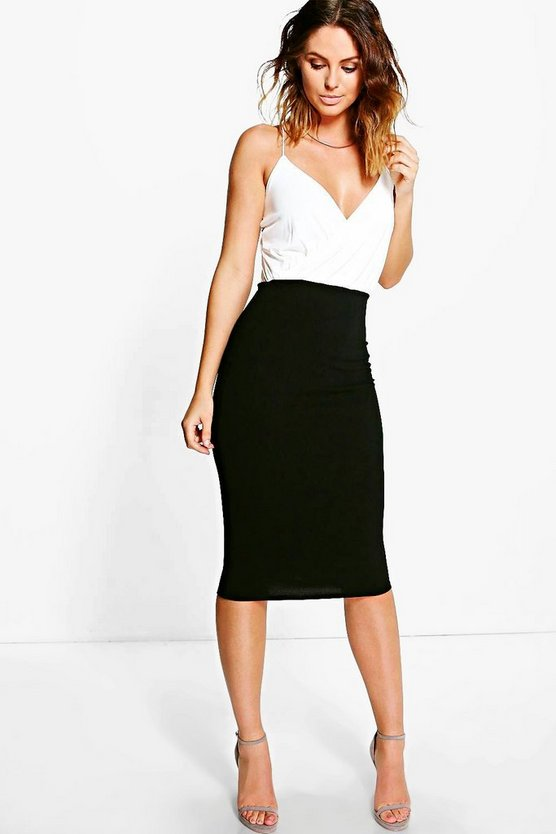 Gillian Wrap Top Contrast Skirt Midi Dress