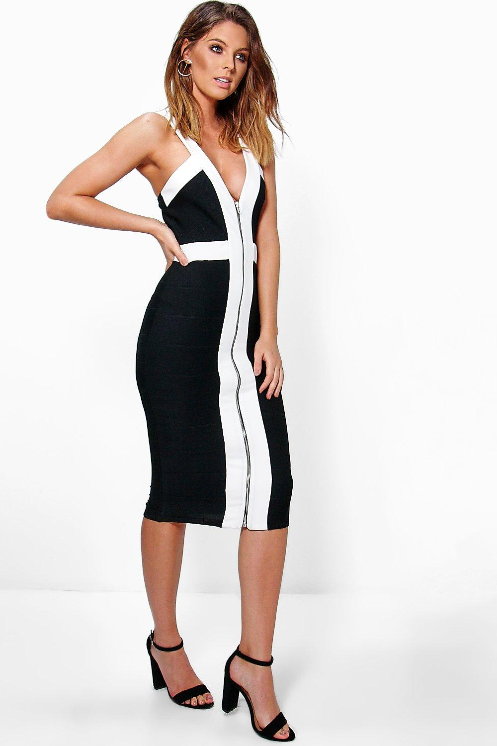 Bowie Strappy Bandage Contrast Midi Dress