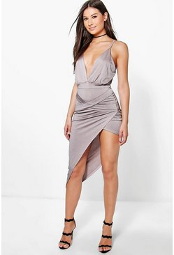 Jo Deep Plunge Cross Front Slinky Midi Dress