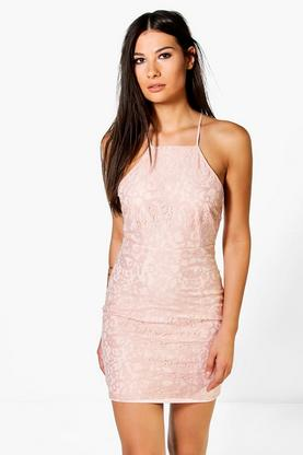 Frey All Over Lace Cross Back Bodycon Dress