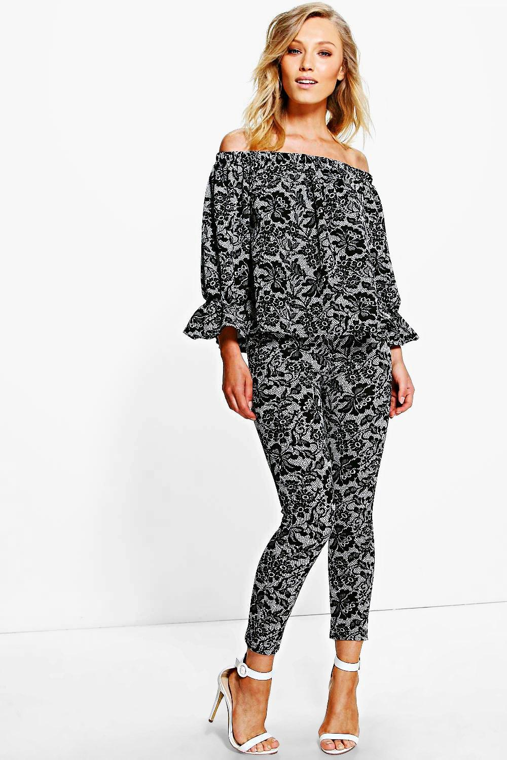 Holly Lace Printed Off The Shoulder Trouser Co-ord