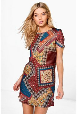 Melody Printed Cap Sleeve Shift Dress