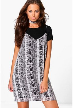 Hermia Snake Print Slip Dress With Choker