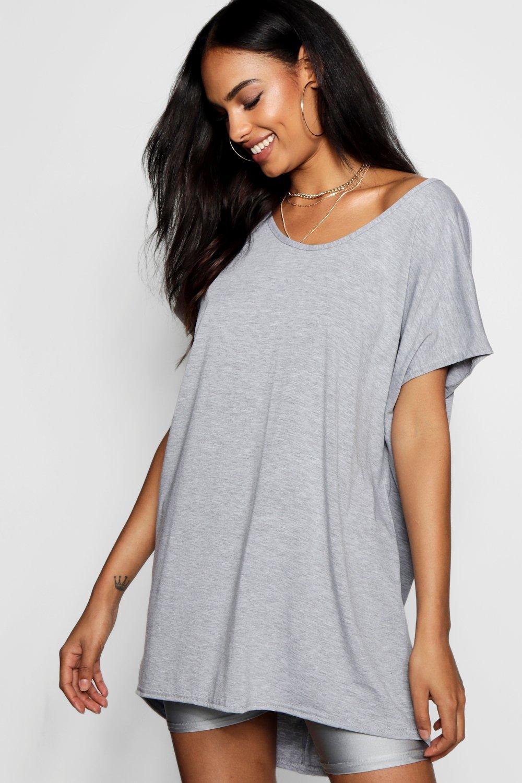 Womens Übergroßes Basic-T-Shirt - Grau - 32, Grau - Boohoo.com