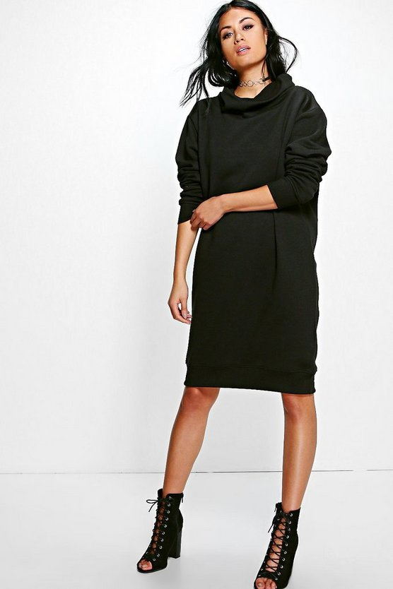 Em Cowl Neck Long Sleeved Sweat Shirt Dress