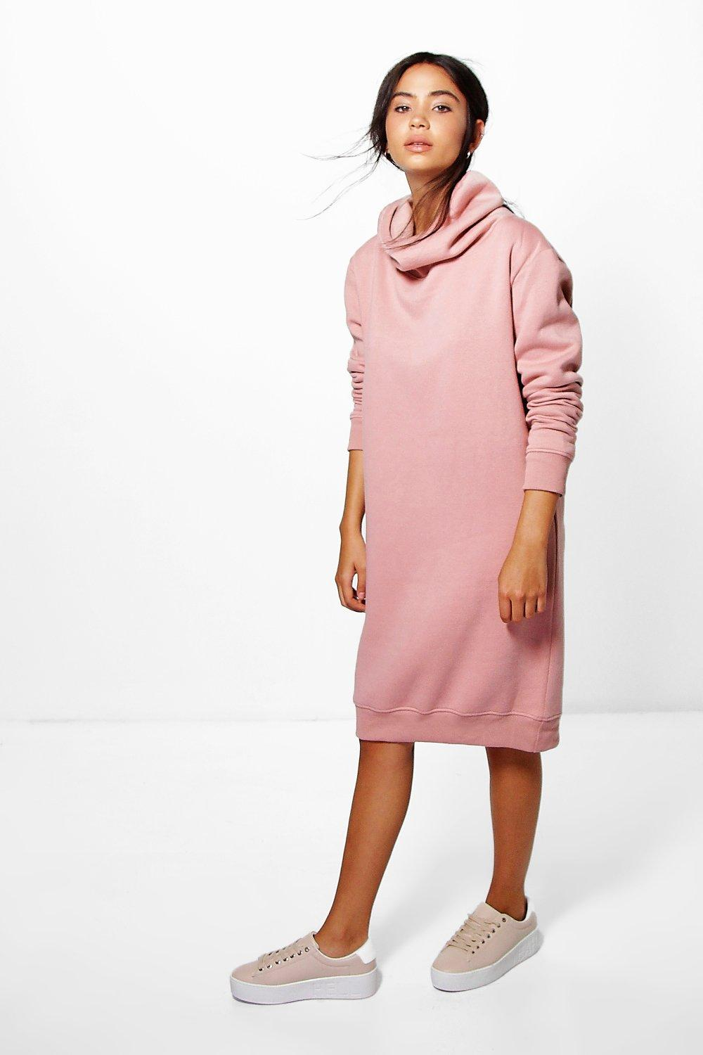 Cowl Neck Long Sleeved Sweat Shirt Dress  dusky pink