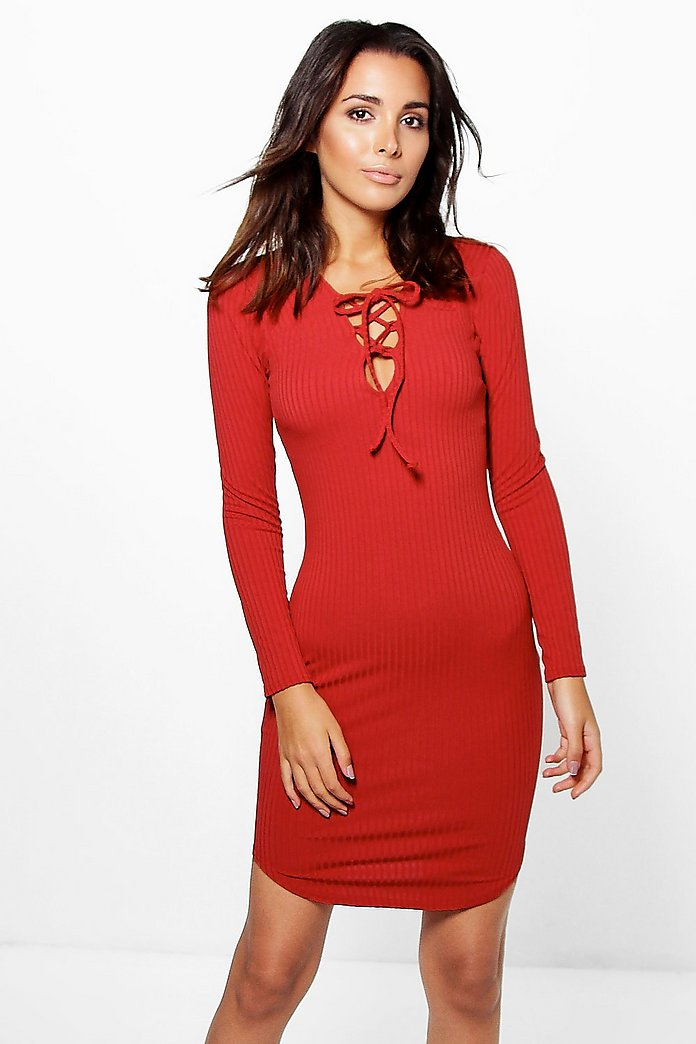Aimee Ribbed Lace Up Bodycon Dress