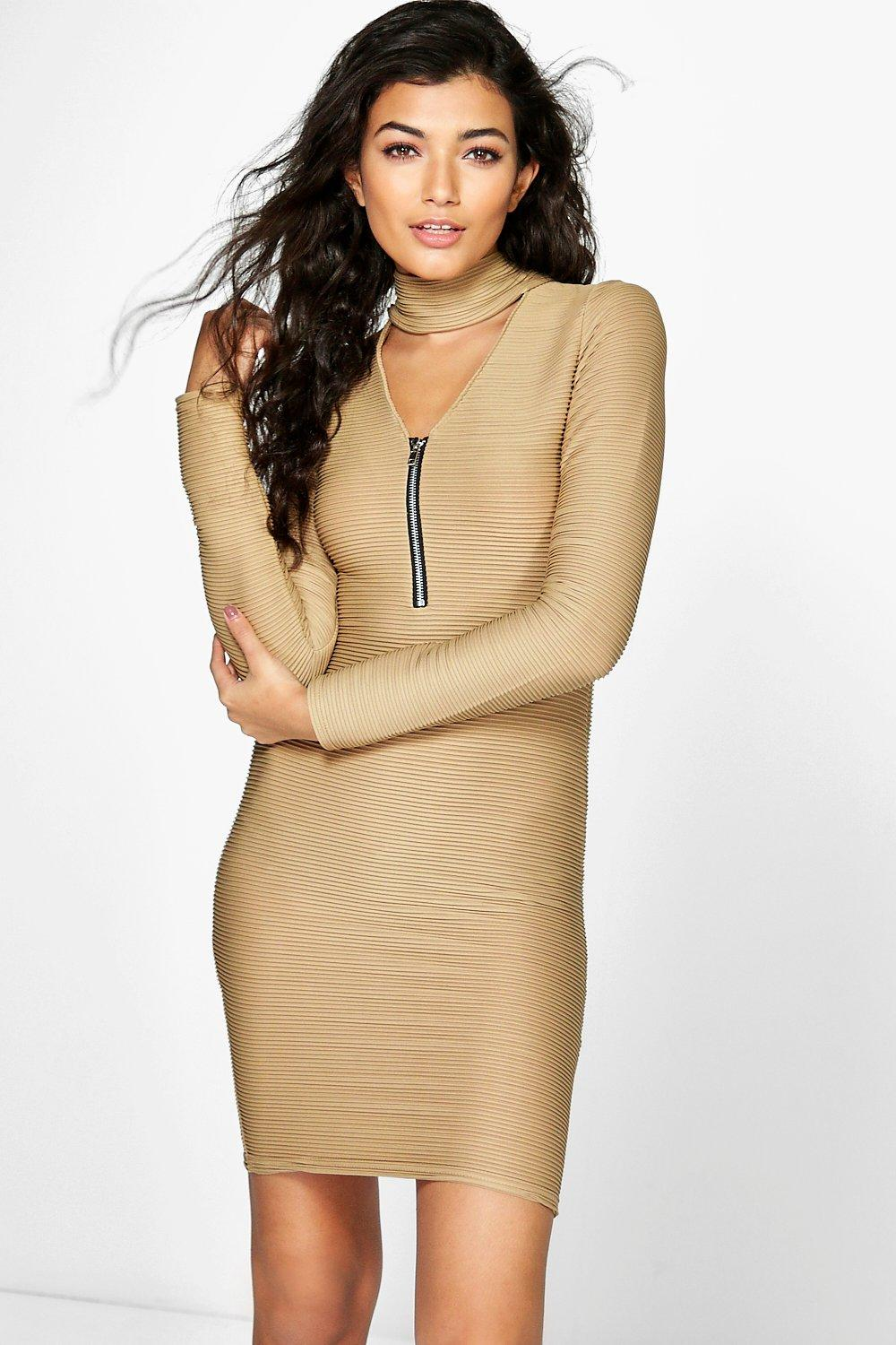 Choker PlungeZip Bodycon Rib Dress  sand