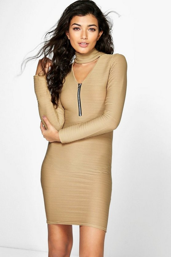 Ava Choker PlungeZip Bodycon Rib Dress