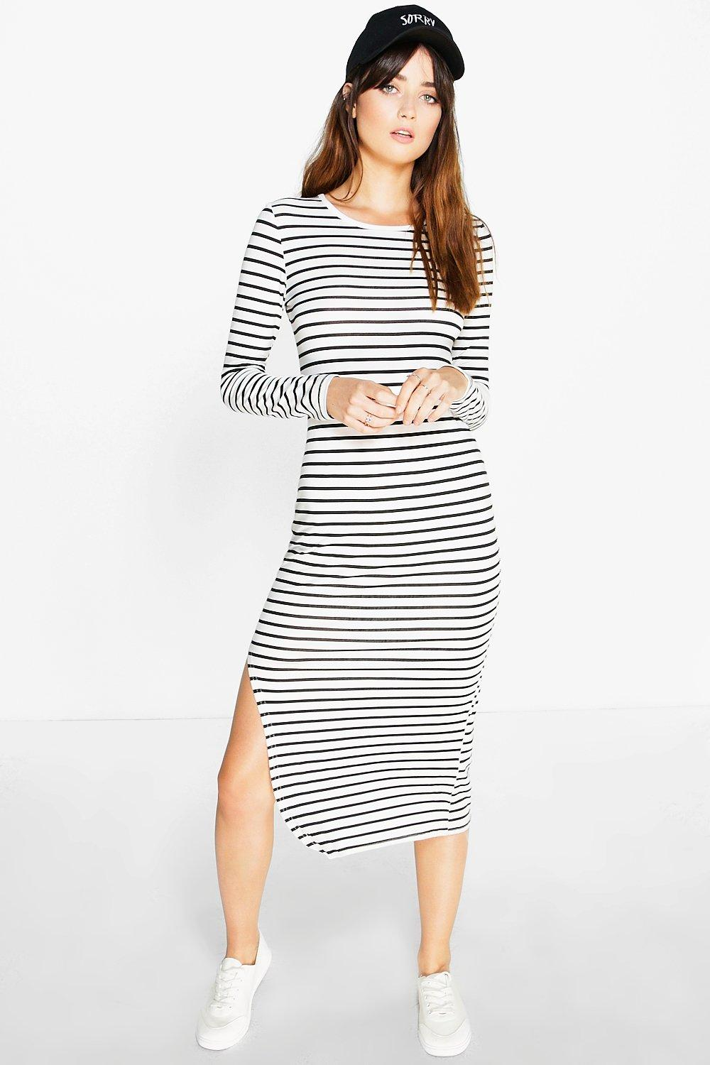 Ana Curved Side Split Stripe Midi Dress
