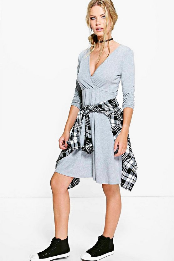 Anna Long Sleeve Wrap Over Skater Dress