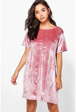 Lizzie Velvet Printed Cap Sleeve Shift Dress