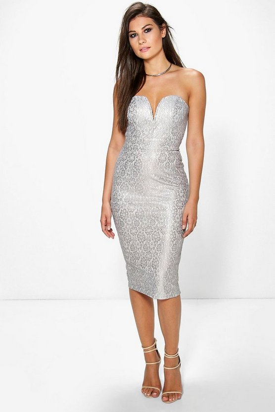 Boutique Tess Metallic Lace Bandeau Dress
