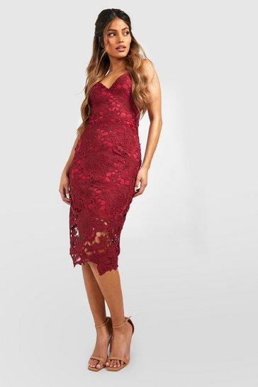 Berry Boutique Crochet Lace Strappy Midi Dress