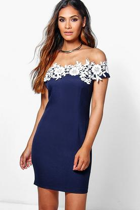 Daisy Lace Off Shoulder Detail Bodycon Dress