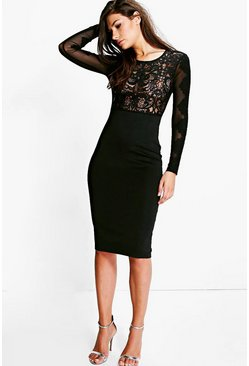 Boutique Tyra Crochet & Mesh Bodycon Dress