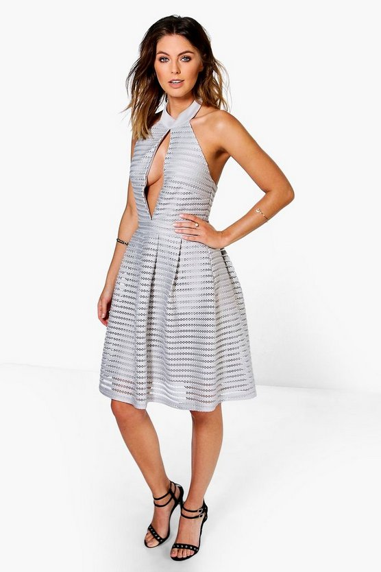Suri Mesh Panelled Keyhole Skater Dress