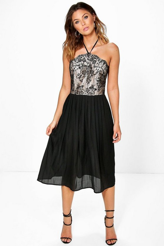 Betty Lace Top Pleated Skirt Skater Dress