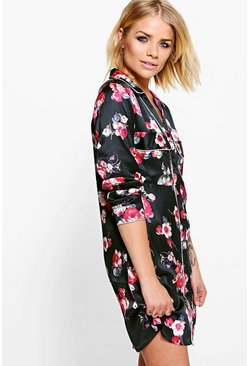 Ella Satin Piped Shirt Dress