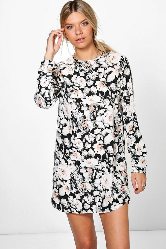 Lola Long Sleeved Floral Shift Dress