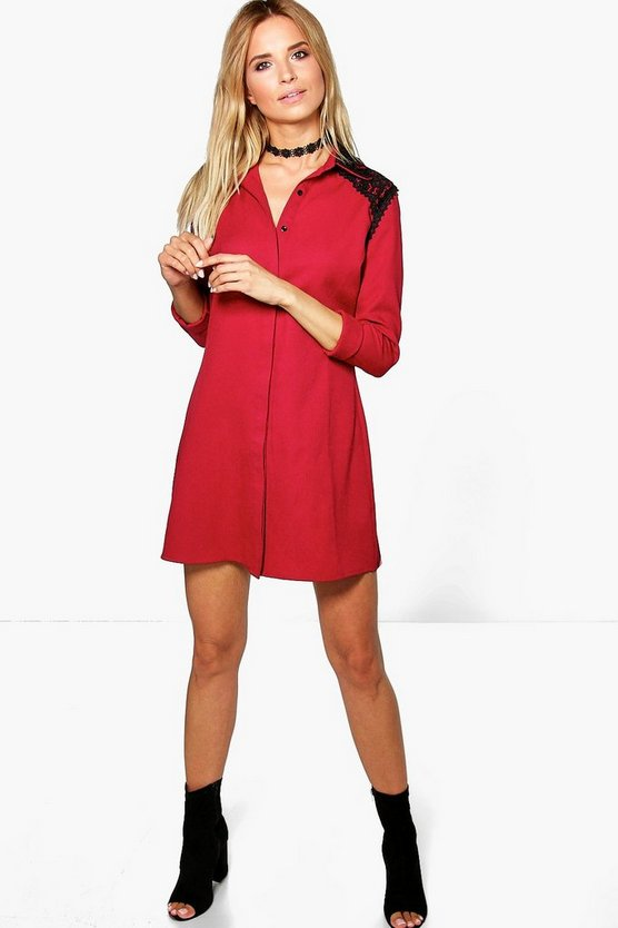 Tess Lace Trim Shirt Dress