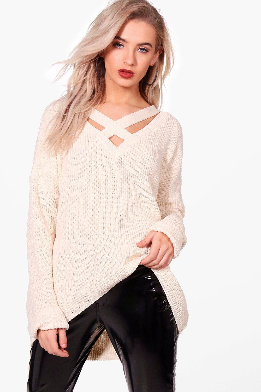 Womens Lacey Übergroßer Pullover mit Kropfband - Creme - s/m, Creme - Boohoo.com