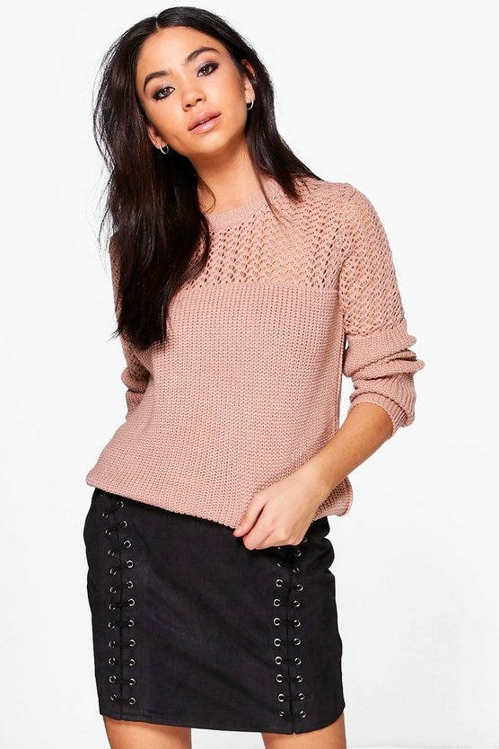 Open Knit Crew Neck Jumper